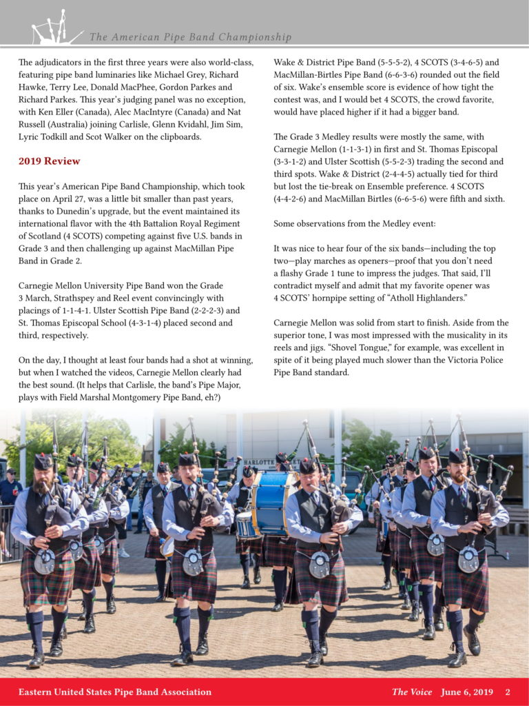 Voice Article 2019-06-06 – Eastern United States Pipe Band Association